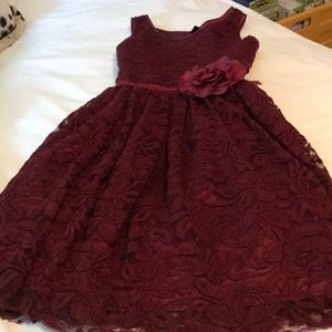 Wine color , lace girls dress